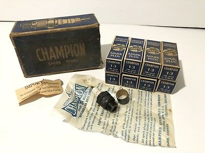 """Vintage Champion Spark Plugs #13 18mm 1"""" Hex Lot Of 8 NOS With Boxes Wrappers"""
