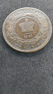 1861 New Brunswick Canada Large One Cent- High Grade VF Condition