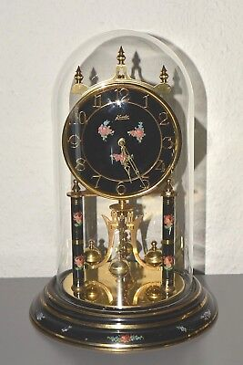 KUNDO Vintage Anniversary - 400 Day glass dome mantle clock. Germany. Large size