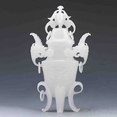 Exquisite Chinese Antique White Jade Hand Carved Incense Burner&Lid