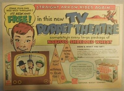 Nabisco Cereal Ad: Free! Straight Arrow TV Puppet Play Kit Shredded Wheat 1950's