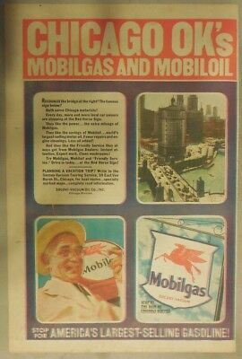 "Mobil  Gas Ad: ""Chicago Ok's Mobil Gas and Oil!""  from 1937 Size: 11 x 15 inches"