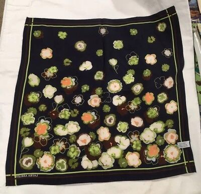 """Vintage Laura Ashley Abstract Floral Silk Square Scarf 20.5"""" Black"""