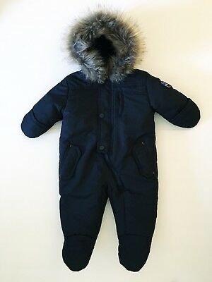 Rothschild Baby Bunting Snow Suit Black With Fur Lined Hood Size 3-6m Like New