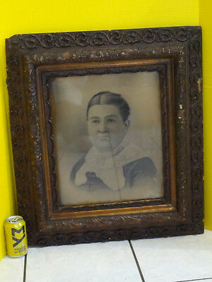 Antique Ornate Oak Wood Picture Frame & Print - Large 23x27 Victorian ~FAST S/H