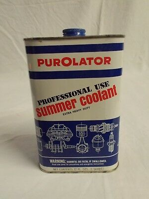 Vintage PUROLATOR Summer Coolant 1-QT Rectangular  Can