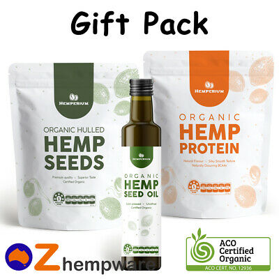 Hemp Oil Seeds Protein Certified Organic Raw Vegan Plant Based Gift Starter Pack