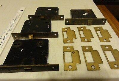 Vintage 4 Mortise Door Lock Hardware with 6 Brass Strike Plates