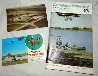 3 Pieces Vintage 1970s Camping Trailering Postcards and Campground Book