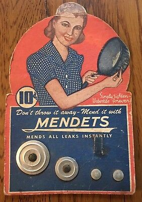 VINTAGE 1930's  - 40's MENDETS POT/PAN LEAK MENDING KIT 10 CENTS DISPLAY CARD
