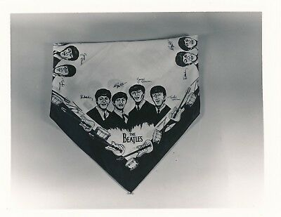 Original 4x5 Vintage Snapshot Beatles Fan Club Handkerchief Guitar Drums