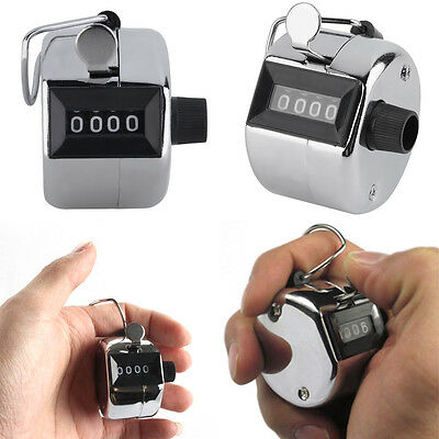 Hand Held Tally Counter Manual Counting 4 Digit Number Golf Clicker NEW 9BL