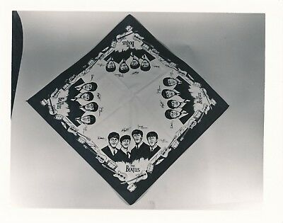 Original 4x5 Found Photo Vintage Snapshot Beatles Fan Club Handkerchief Band