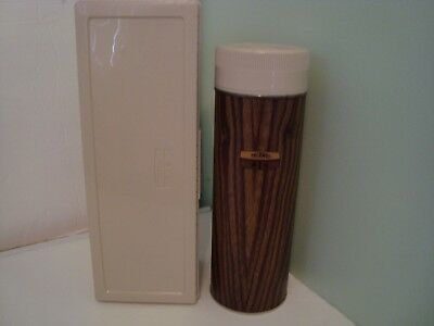 Thermos Quart Size W/Cup & Stopper Glass Insert Brown With Carry Case