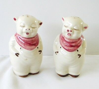 "Vintage Shawnee Pottery Pink Smiley Pigs Large 5 1/4"" Salt & Pepper Shakers"