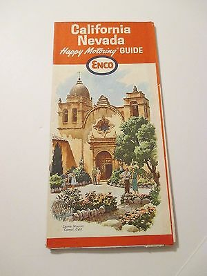 Vintage 1964 ENCO California Nevada Oil Gas Station Road Map