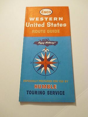 Vintage 1964 ENCO HUMBLE Western US Oil Gas Station Road Map