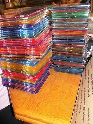Lot of 100 Slim CD DVD Jewel Cases Mixed Colors VGC No Cracks LOCAL PICKUP ONLY