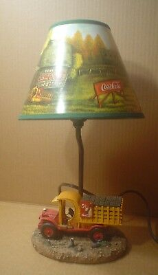 Coca Cola Resin Tea Light Lamp with Delivery Truck with Shade ~ 2000 Edition