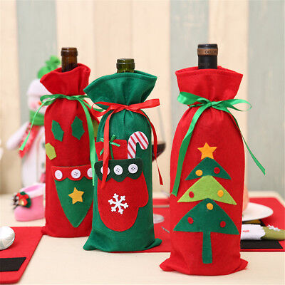 Red Wine Bottle Cover Bags Holiday Decor Home Party Santa Claus Christmas Gifts