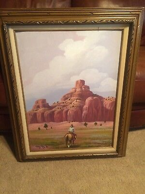 "Guy Nez Jr 30 x 241/2"" Original Oil Painting Signed by Native American Artist"