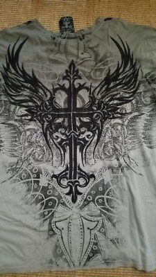 Jesus  Christian Cross Tribal Angel Wings Embroidered T-Shirt  Xl  Nwt