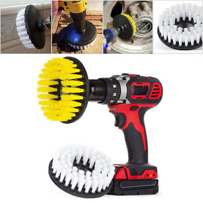 "2pcs 5"" Drill Brush Medium & Soft Scrub Combo Car Wall Tile Leather Clean Brush"