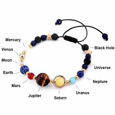 Universe Planets Bead Bangles Natural Solar System Energy Bracelet For Women Men