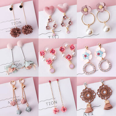 Girl Cute Earrings Pink Fabric Flower Dangle Earrings Women Fashion Jewelry Gift