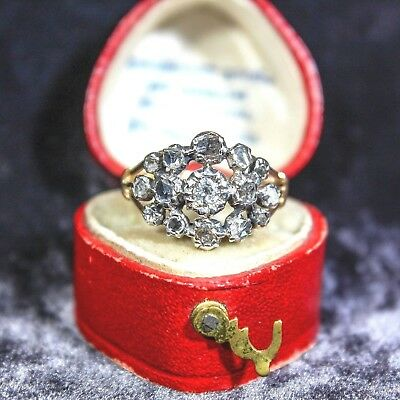 Antique Victorian 14K Gold & Silver Old Rose-Cut Diamond Cluster Ring 5.25-5.5