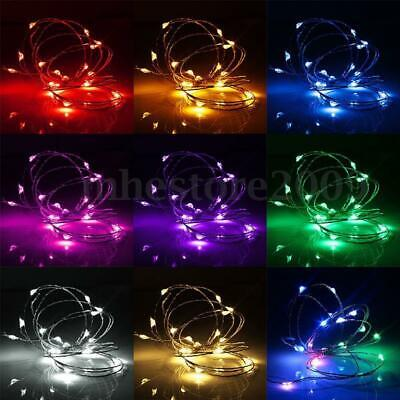 LEDs Battery Operated Silver Wire Fairy Lights Christmas Wedding Garden Decor