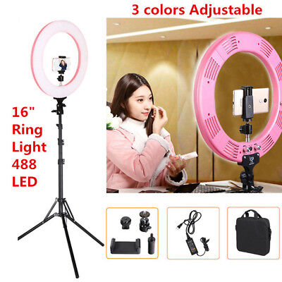 16'' 48W LED Photo Video 5600K Ring Selfie Light for Camera Portrait Photography