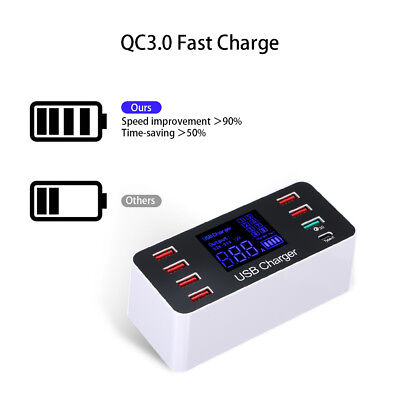 8 Ports Fast USB Charger QC3.0 40W Smart Charging Station LCD Display 5V 8A H5H1