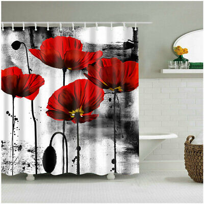 Shower Curtain Bathroom Decor Set Red Flower Ink Painting Art Design Curtains