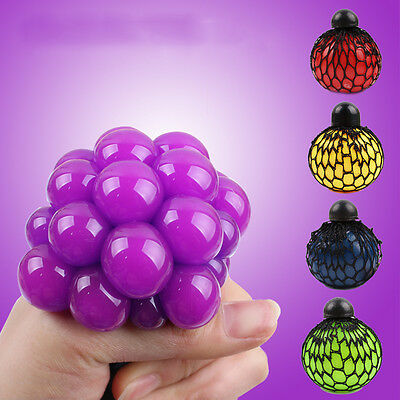 Novelty Anti-Stress Squishy Mesh Venting Ball Grape Squeeze Sensory Fruity TosW
