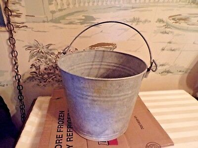 "Vintage Galvanized Steel Farm Bucket/Pail 9"" tall--Farm Primitive"