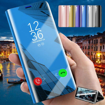 For Samsung Galaxy S7 S8 S9 Plus Note 9 Smart Mirror View Flip Case Stand Cover