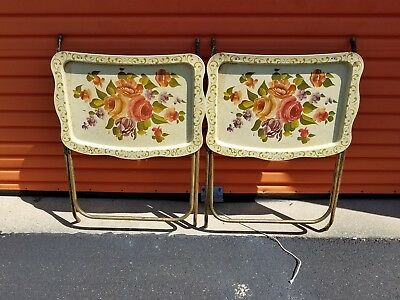 Vintage Lot Of 2 Tv Trays Metal Some Rust all work red pink Rose flower