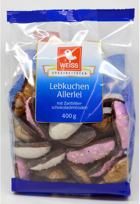 Weiss Lebkuchen-Allerlei 400g, Assorted Gingerbread Coated w/Sugar and Chocolate