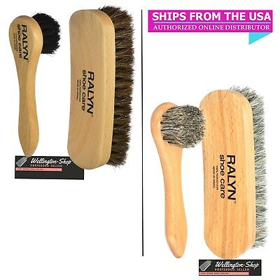 Shoe Shine Kit  Leather Polish Applicator Buffing Brush Kit 100% Horsehair