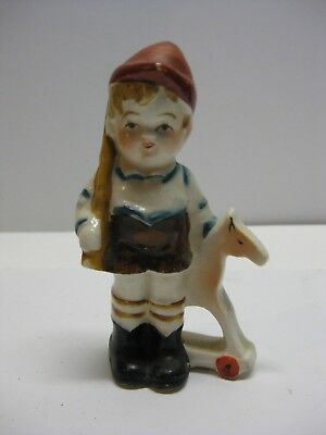 Vintage Hummel Style Porcelain Boy with Toy Gun and Hobby Horse Occupied Japan