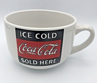 Coca Cola Ice Cold Coca Cola Sold Here Large 20 Oz Coffee Cup Mug Wide Mouth