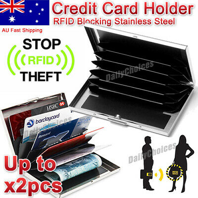 Credit Card Holder Case Protector Slim Wallet RFID Blocking Thin Stainless steel