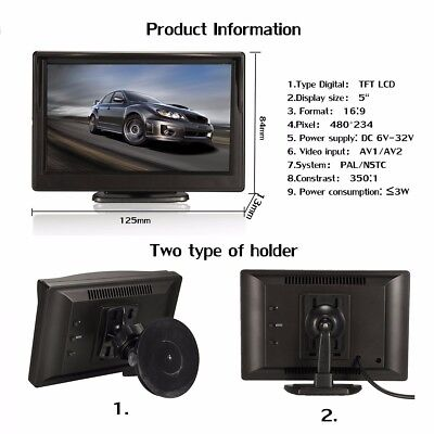 5 Inch TFT LCD HD Car Screen Monitor For Rearview Reverse Backup Parking