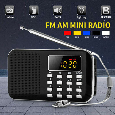 Mini Digital Portable AM FM Radio Speaker Telescopic Antenna Earphone TF AUX