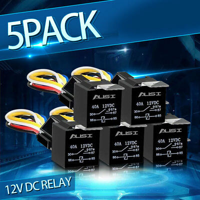 5pcs 12V 30/40Amp Car SPDT Automotive Relay with 5 Wires & Harness Socket DC