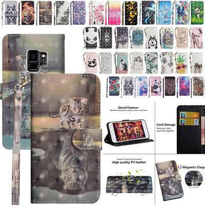 For Galaxy Note 9 S8 S9+ A8 J5Pro Painted Wallet Flip Magnetic Stand Case Cover