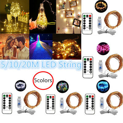 USB Plug In 5-20M LED Fairy String Micro Copper Wire Lights CHRISTMAS Wedding DD