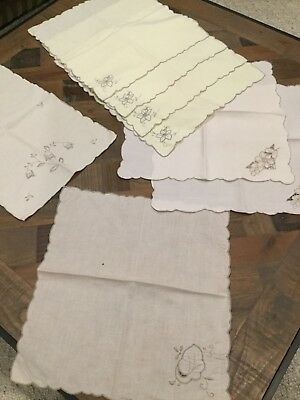 Bulk Vintage Cut Work Embroidered Linen Napkins Plus Placemat