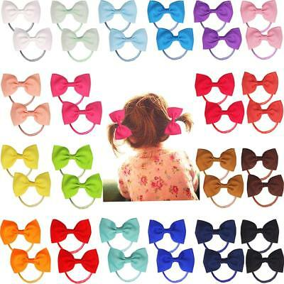 "40pcs 2.75"" Boutique Hair Bows Tie Baby Girls Kids Rubber Band Ribbon Hair bands"